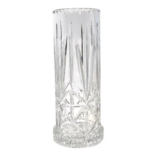 Vintage Cut Crystal Tall Hurricane With Low Stand - a Pair For Sale