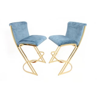 1980s Vintage Brass Bar Stools by Contemporary Shells Inc - A Pair Preview
