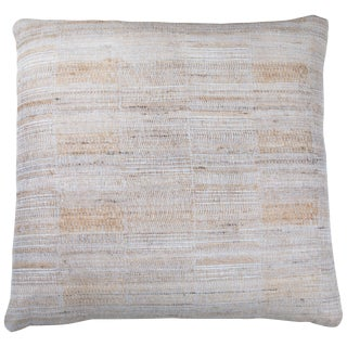 Indian Handwoven Pillow in Ice Blue & Tan For Sale