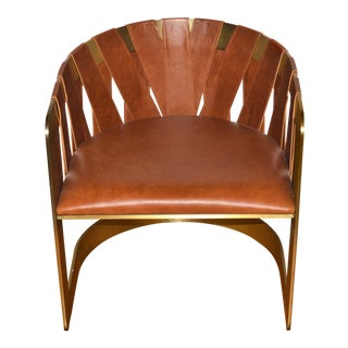 Baker Furniture Kara Mann Milling Road Bronze Metal Leather Sling Chair For Sale