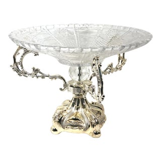 Mid 20th Century Art Nouveau Silver-Plate and Glass Centerpiece Mid 19th Century Epergne For Sale