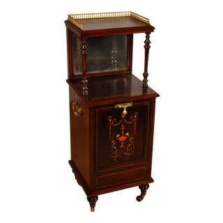 19th Century Antique English Edwardian Rosewood Inlaid Stand Coal Purdonium For Sale