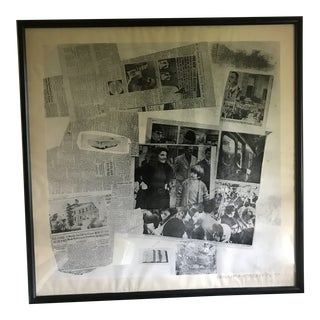 """Vintage Robert Rauschenberg """"Features Currents"""" Black & White Kennedy Printers Proof For Sale"""