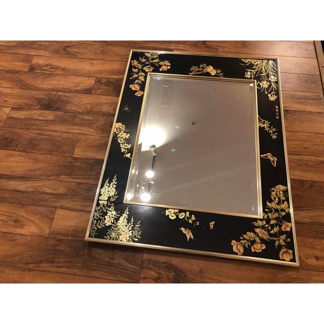 Black La Barge Églomisé Hand Painted Beveled Mirror For Sale - Image 8 of 11