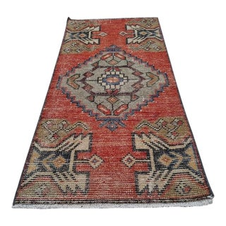 1970s Vintage Turkish Oushak Rug - 1′6″ × 3′1″ For Sale