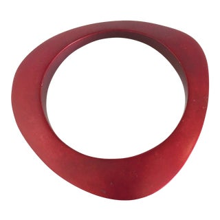 Vintage Red Anodized Aluminum Bangle Bracelet For Sale