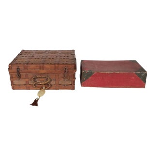 Two Korean Antique Dowery Boxes in Brown Rattan and Red Papier-Mâché For Sale