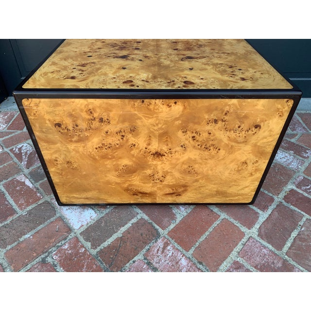 Early 1970's burlwood coffee table in the style of Milo Baughman.