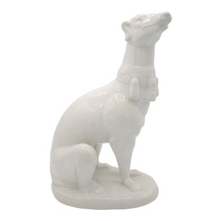 Vintage Italian Ceramic Greyhound Statue For Sale