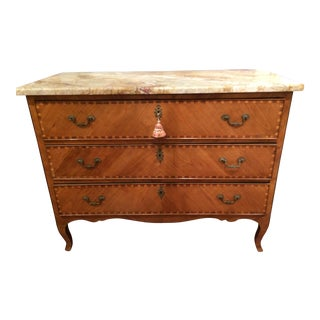18th Century Italian Three Drawer Marquetry Chest with Marble Top