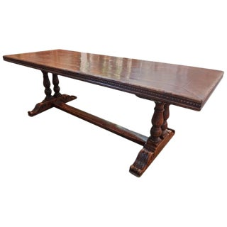 19th Century French Walnut Trestle Dining Table For Sale