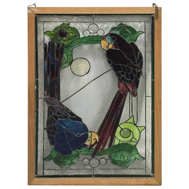 Stained Glass of Two Parrots in Wood Frame For Sale