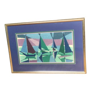 Mid Century Modern Abstract Needlepoint Sailboats For Sale