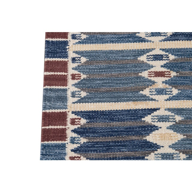 Textile 21st Century Modern Swedish Style Wool Runner Rug For Sale - Image 7 of 13