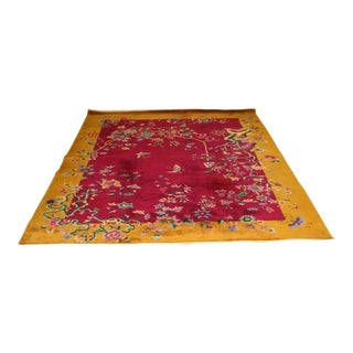 "Art Deco Chinese Massive Large Nichols Floral Area Rug Carpet 104"" X 138"" For Sale"