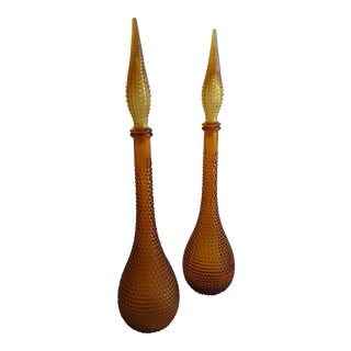 Gold Handblown Murano Glass Genie Bottle Decantors, a Pair