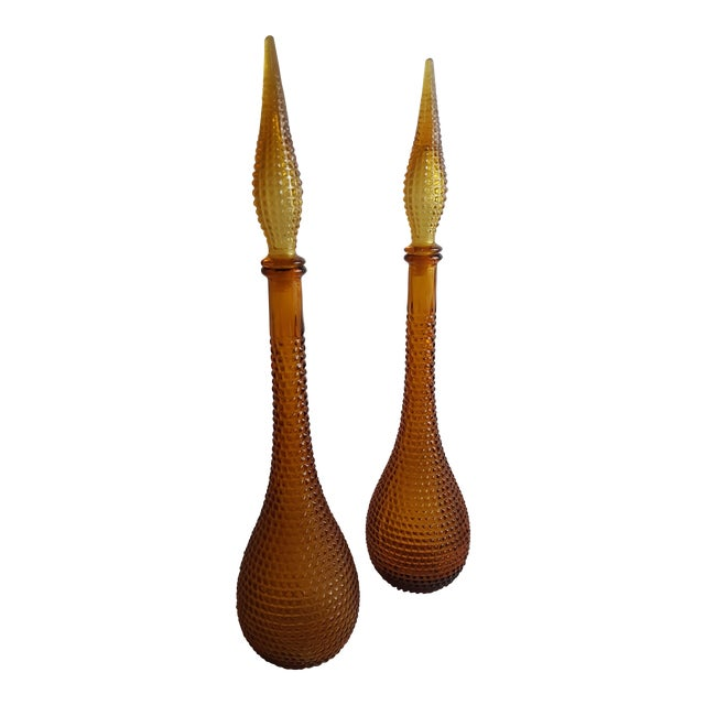 Gold Handblown Murano Glass Genie Bottle Decantors, a Pair For Sale