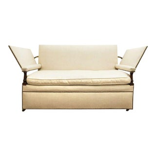 Ratchet Arm Sofa Covered in White Linen Fabric