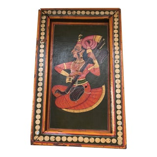 Hand-Painted Indian Sitar Player on Wood Box For Sale