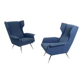 Pair of Ultramarine Fabric Armchairs With Varnished Metal Legs , Italy, 1950s For Sale