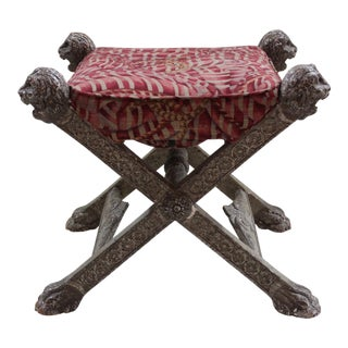 Early 20th Century Baroque Style Cerule Stool For Sale