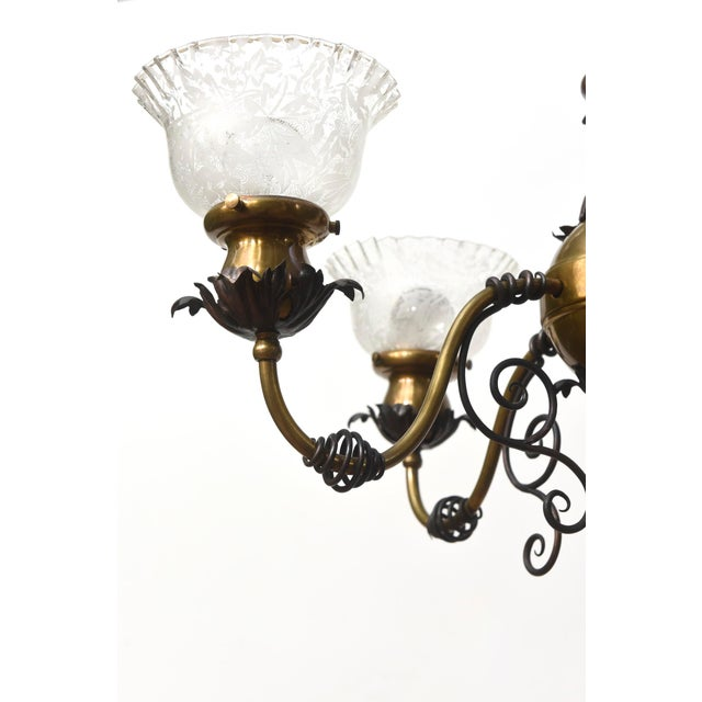 Four Light Brass and Wrought Iron Early Electric Fixture For Sale - Image 4 of 10