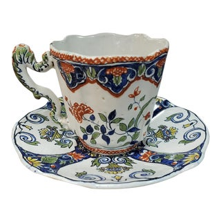 Late 19th Century French Faience Porcelain Tea Cup and Saucer For Sale