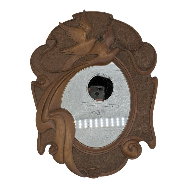 1980s Vintage Dove Bird Wood Mirror For Sale