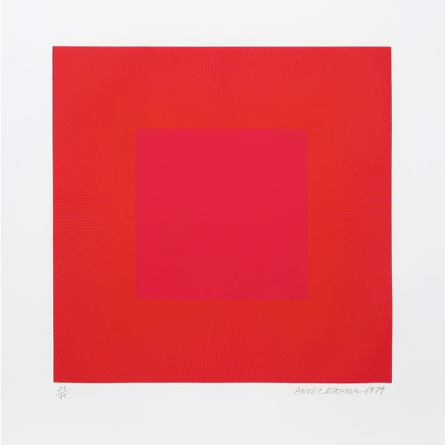"Modern Richard Anuszkiewicz, ""Summer Suite"" (Red & Gold Iv), Op Art Etching For Sale - Image 3 of 3"