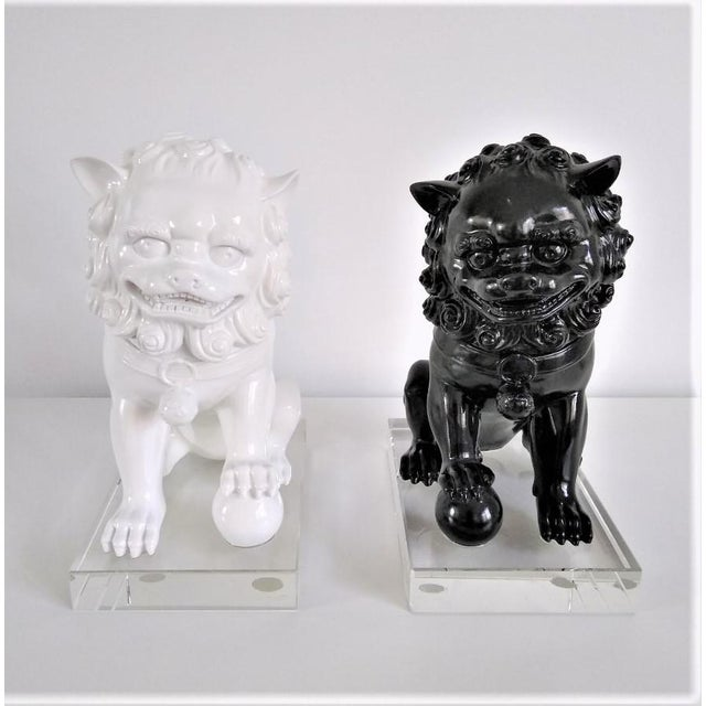 Ceramic Vintage Foo Dogs on Lucite Bases - Pair For Sale - Image 13 of 13
