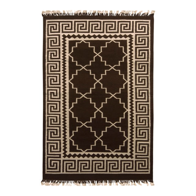 Contemporary Flat Weave Rug Brown and Beige Transitional Kilim Rug For Sale