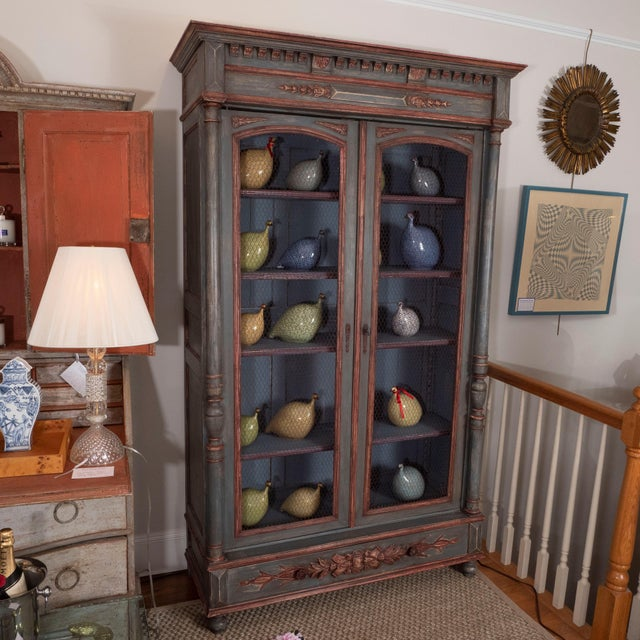 Wood French Painted Bibliotheque For Sale - Image 7 of 10