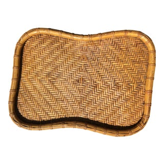 VIntage Mid-Century Modern Boho Bamboo Rattan Serving Tray