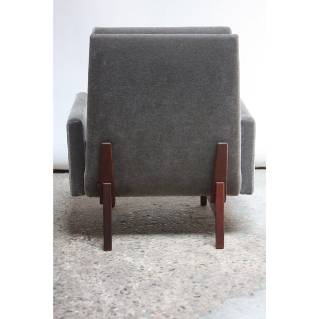 Jens Risom Design Early Jens Risom Walnut and Mohair Lounge Chair For Sale - Image 4 of 9