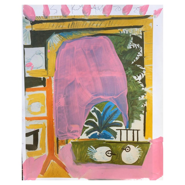 Abstract Framed Picasso Poster Painting by Sean Kratzert, 'Pink Coast' For Sale