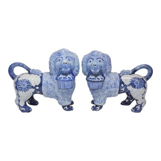Vintage Maitland-Smith Blue & White Stafforshire Dog Statues - a Pair For Sale