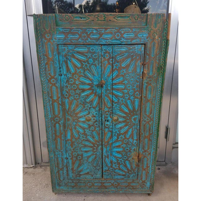 Early 21st Century Antique Moroccan Turquoise Wooden Cabinet For Sale - Image 5 of 7