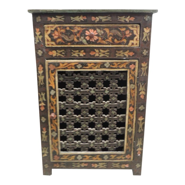 Black Hand painted vintage Indian night stand with Drawer For Sale