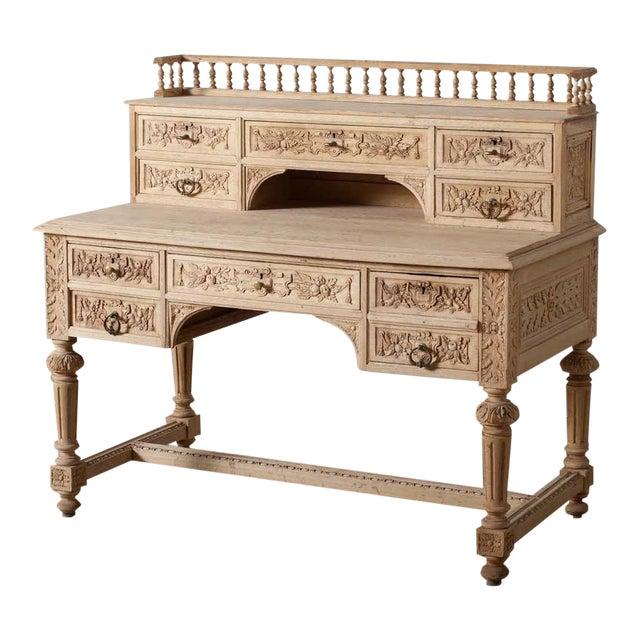 Antique Carved Oak Writing Desk - Antique Carved Oak Writing Desk Chairish