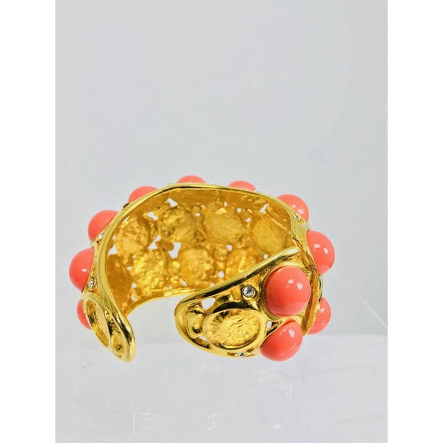 Kenneth Jay Lane Kenneth J Lane Faux Coral Turquoise Rhinestone Gold Clamp Cuffs Bracelet For Sale - Image 4 of 8