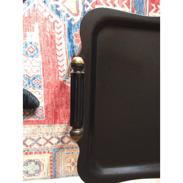 Black Tray Table With Gold Accents - Image 3 of 6
