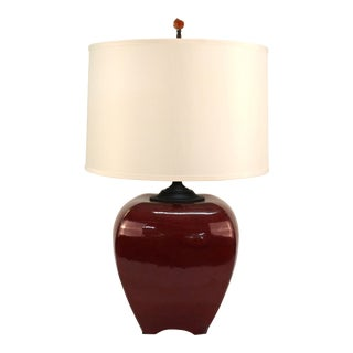 Danish Modern Porcelain Table Lamp with Shade For Sale