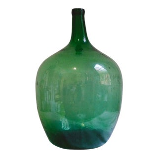 Vintage Large Hand Blown Green Glass Demijohn Jug For Sale