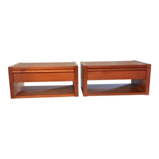 Mid-Century Danish Wall Mount Floating Teak Nightstands Tables Shelves--Set of 2 For Sale