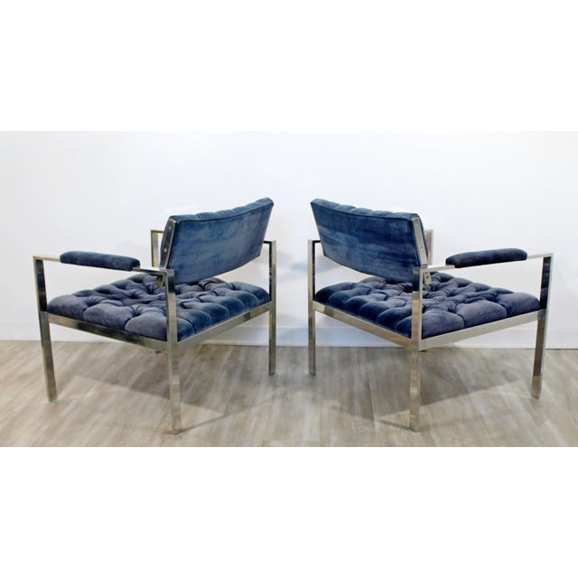 Blue 1970s Vintage Harvey Probber Mid Century Modern Chrome Lounge Chairs & Ottoman - Set of 3 For Sale - Image 8 of 12