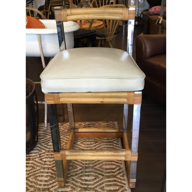 Mid-Century Modern Mid-Century Modern Bamboo Chrome and Leather Counter Stools - a Pair For Sale - Image 3 of 13