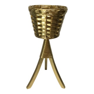Vintage Gold Wicker Plant Stand For Sale