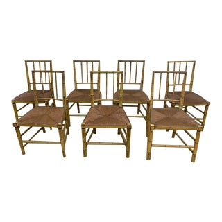 English Regency Period Faux Painted Bamboo Dining Chairs- Set of 7 For Sale