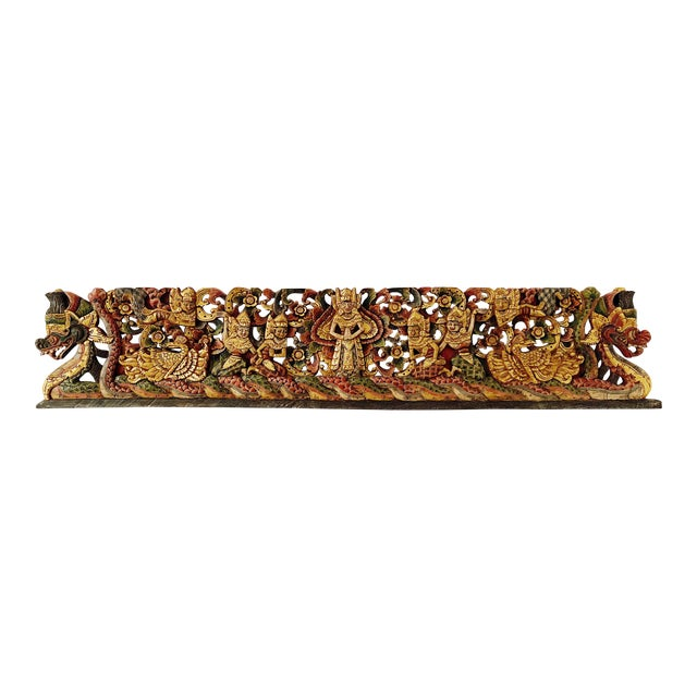 Vintage Thai Wood Carving Wall Art For Sale
