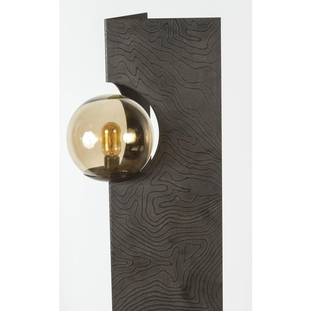 Contemporary Paul Marra Textured Steel Solitaire Floor Lamp For Sale - Image 3 of 8